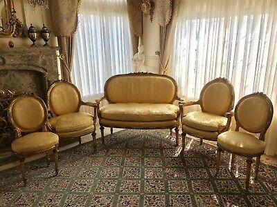 Antique Louis XV Style Gilt 5pcs Settee and chairs