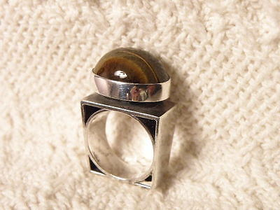 Sterling 925 Silver Tiger Eye Ring Modernist Size 6 Signed Hans Weight 15 Grams
