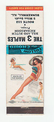 T.N. Thompson Pin Up Matchbook Cover, The 3 Maples, Series 3, 1955