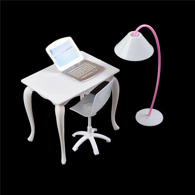 Barbie Dollhouse Furniture Desk+Lamp+Laptop+Chair Play house Prop@