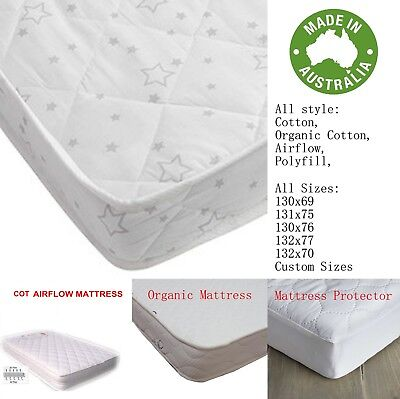 Au Made Airflow Innerspring Organic Baby Bed Crib Boori Cot Mattress & Protector
