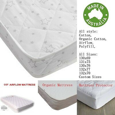 Organic Baby Bed Crib Cot Mattress Pad Baby Australia Made Innerspring Protector