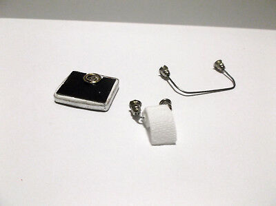 Miniature Doll House Handcrafted Bathroom Towel  Toilet Paper Holder and Scales