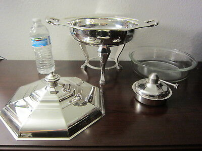 Wallace Baroque Alden Chafing Dish W Lid,Burner & Stand (Silverplate,Hollowware)