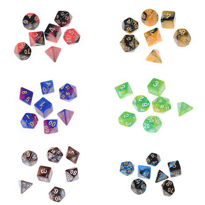 21pcs 3Sets Double-Color Polyhedral Dice 3 Colors Party Games Gifts&