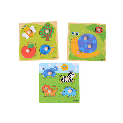 Baby Toddler Intelligence Development Animal Wooden Brick Puzzle Toy Classic