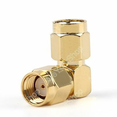1x Adapter RP-SMA Male Jack To SMA Male Plug 90° Connector Right Angle Gold-Plat