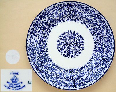 """Woolworth: Blue & White Chintz """"FIBRE"""": 10"""" Dinner Plate"""