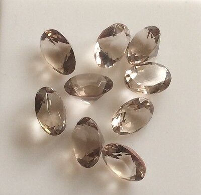 20 Pc X Oval Cut Shape Natural Smoky Quartz 7Mm X 5Mm Faceted Loose Gemstone