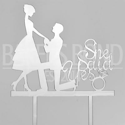 She Said Yes Silver Acrylic Engagement Couple Wedding Day Cake Topper Silhouette