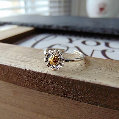 Daisy Art Open Toe Ring Gift Sterling Silver & Gold Flower Petals 3D Design UK