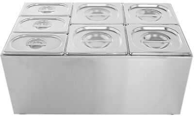 7 PAN WET HEAT BAIN MARIE FOOD WARMER HOLDER 4X 1/6+ 3X 1/9 PAN,LID,Divider inc