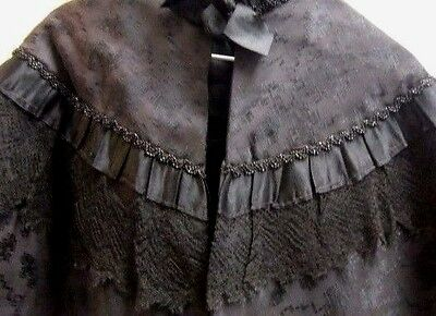 Rare Victorian Child's Cape Black Lace & Glass Beads Vintage 14 inch neck to hem