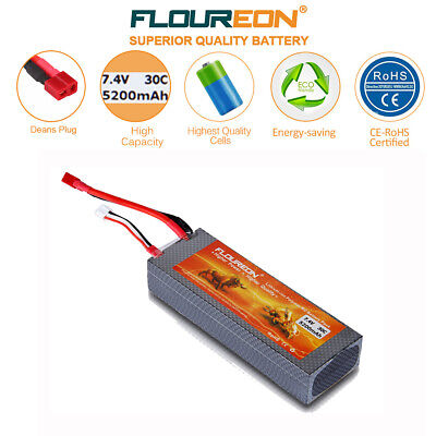 2S 30C 7.4V 5200mAh LiPo Battery Deans for RC Airplane Helicopter Car Truck FPV