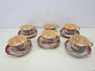 Vintage Normally China/Occupied Japan Hand Painted Dragon Cups & Saucers