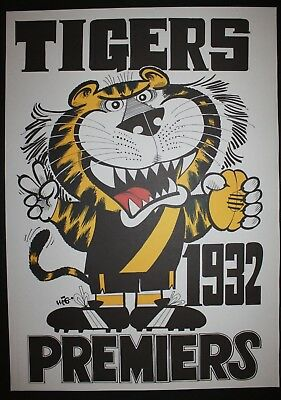 1932 Richmond Premiers Weg poster Tigers Premiership