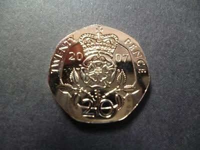 2007 Brilliant Uncirculated Twenty Pence Piece. 2007 Uncirculated 20P Coin.