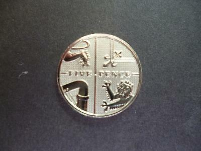2008 Brilliant Uncirculated 5p coin, the first year of the new shield design.