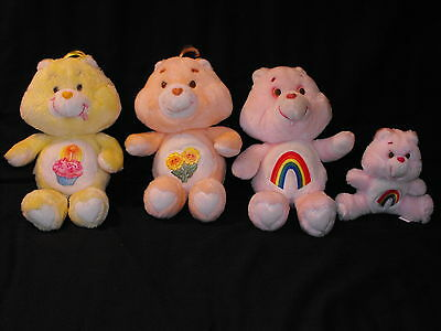 "1980s Lot of 4 Vintage 13"" & 6"" Kenner Care Bear Plush Dolls Cheer Birthday More"
