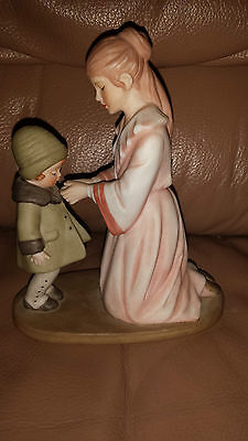 "Treasured Memories - Enesco Figurine - Mother & Daughter - ""dressing Warm"" -1981"