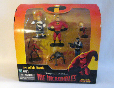 Disney THE INCREDIBLES INCREDIBLE BATTLE Figure Set Toy Syndrome Omnidroid +