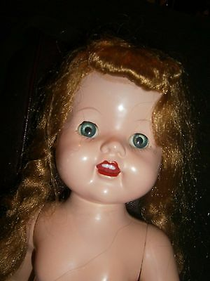 "Vtg 22"" Doll for Parts Cry Box Works Teeth Felt Tongue Eyes Open Shut"