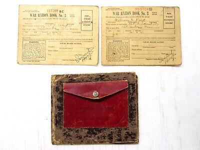 Qty 2 Vintage WW II War Ration Coupon Books & Cardboard Ration Book Holder