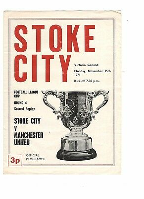 Stoke City v Man Utd 1971 - 1972 League Cup 2nd replay Nov15