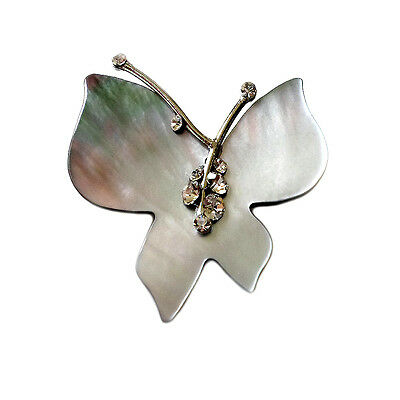 HANABE KOREA Butterfly Dew Mother of Pearl Crystal Handmade Hairpin