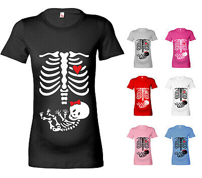 Womens Halloween Skeleton Baby Girl Maternity T Shirt Pregnancy T Shirt Fun Gift
