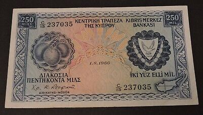 Cyprus 1966 250 Mils Aexf Extremely Rare Date !!!