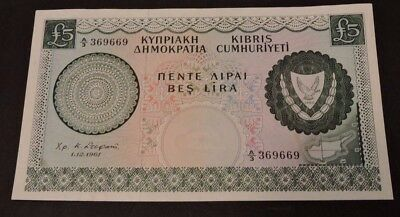 Cyprus 1961 Five 5 Pounds Aexf Rare The First Banknote Of The Republic