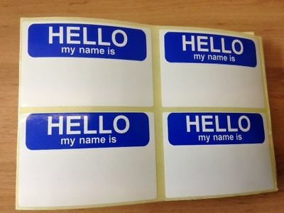 Hello my name is stickers x 100 75mm x 50mm