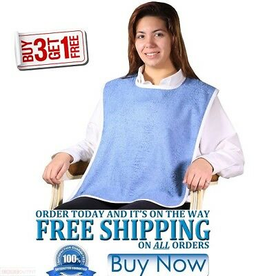 "12 ADULT TERRY CLOTH BIBS EASY CLOSURES BLUE ""buy 3 get 1 free"" JUMBO 18X30"
