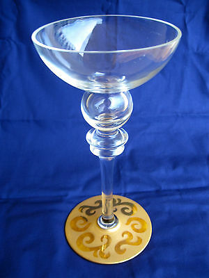 "Very Rare Eisch Candle Holder Glass Goblet Chalice Signed ""Eisch"" Antique.  0090"