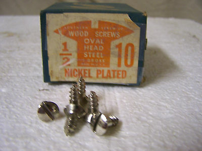 "#10  x 1/2"" Nickel Plated Steel Screws Oval Head Slotted Made in USA  Qty. 144"