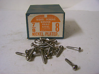 """#8 x 7/8"""" Nickel Plated Wood Screws Round Head Slotted Made in USA - Qty. 144"""
