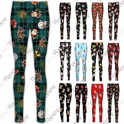 New Womens Girls Xmas Santa Flake Snowman Gift Stretchy Christmas Leggings Pants