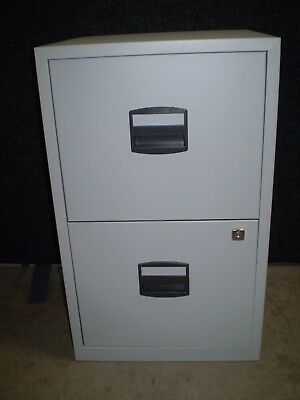 Bisley A4 Personal Filing Cabinet 2 Drawer in  Light Grey With Key. 6 Available