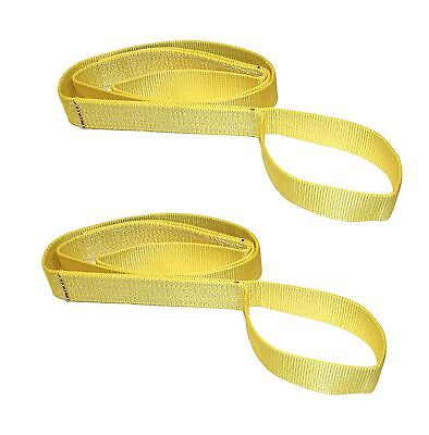 "Two (2x) 1"" x 4 ft Polyester Web Lifting Sling Tow Strap 1 Ply EE1-901"