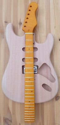 body mahogany HSS 2 piece -1,62 kg + canadian maple neck + hardware - Abverkauf