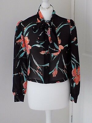 St Michael Vintage Ladies Blouse, Size 12, Black Floral
