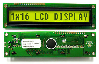 LCD Character Display 1x16 Yellow-Green Backlight