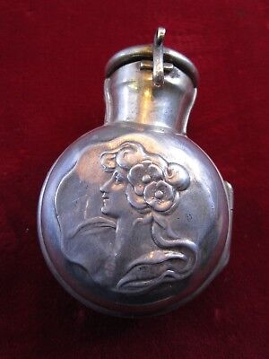 LARGE 1890's British Sterling Perfume Bottle Pendant REPOUSSE FLASK HOLDER 925