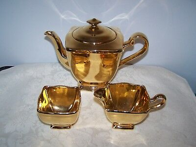 Beautiful Royal Winton Gold Teapot With Cover And Creamer And Sugar Bowl Set