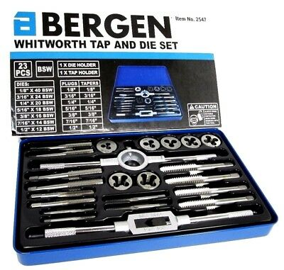 BERGEN 23pc Whitworth Tap and Die Set BSW British Standard Taps Dies  2547