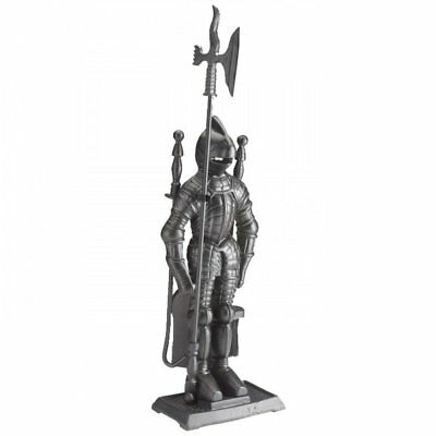 Knight Soldier Companion Set 4 Piece Black Fireside Fire Cast Iron Tools