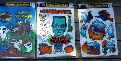 Three (3)1990s Color Clings HALLOWEEN Static Cling Window Decorations Unused USA