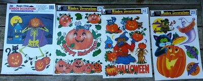 Four (4) 1990s Color Clings HALLOWEEN Static Cling Window Decorations Unused USA