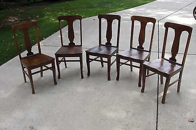 Set of 5 Antique Oak T-back wood bottom chairs and cushions.